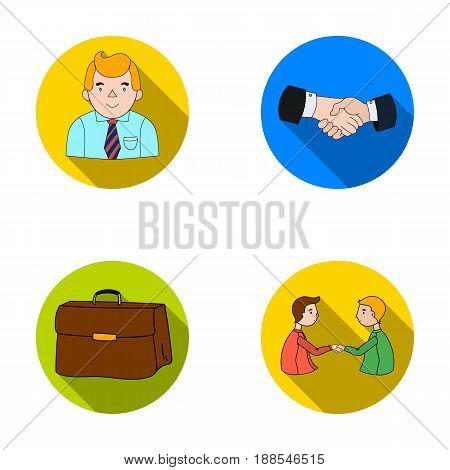 Businessman, handshake, portfolio, agreement.Business-conference and negotiations set collection icons in flat style vector symbol stock illustration .