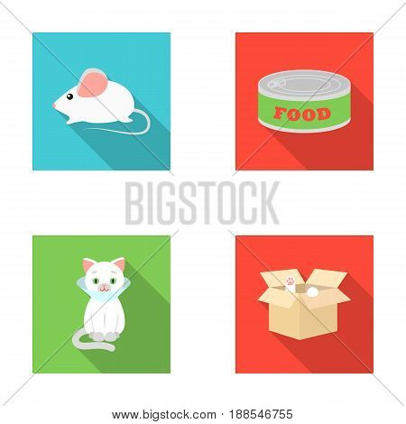 Mouse, food in the bank, sick cat, cat in the box.Cat set collection icons in flat style vector symbol stock illustration .