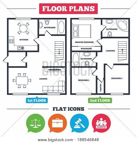 Architecture plan with furniture. House floor plan. Scales of Justice icon. Group of clients symbol. Auction hammer sign. Law judge gavel. Court of law. Kitchen, lounge and bathroom. Vector