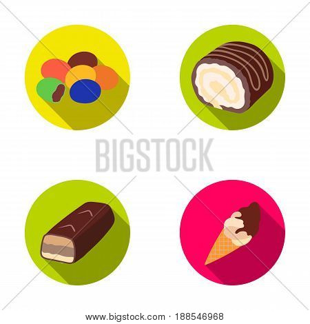 Dragee, roll, chocolate bar, ice cream. Chocolate desserts set collection icons in flat style vector symbol stock illustration .