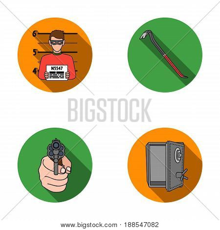 Photo of criminal, scrap, open safe, directional gun.Crime set collection icons in flat style vector symbol stock illustration .