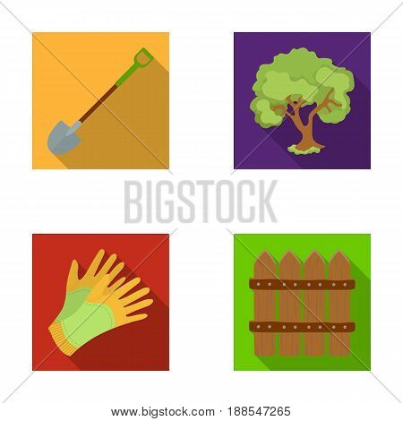 A shovel with a handle, a tree in the garden, gloves for working on a farm, a wooden fence. Farm and gardening set collection icons in flat style vector symbol stock illustration .