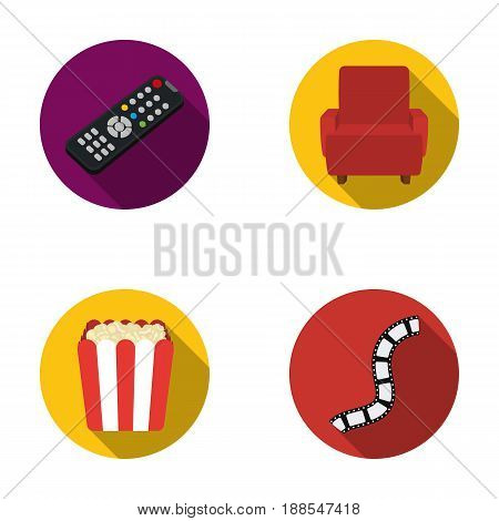 Control panel, an armchair for viewing, popcorn.Films and movies set collection icons in flat style vector symbol stock illustration .