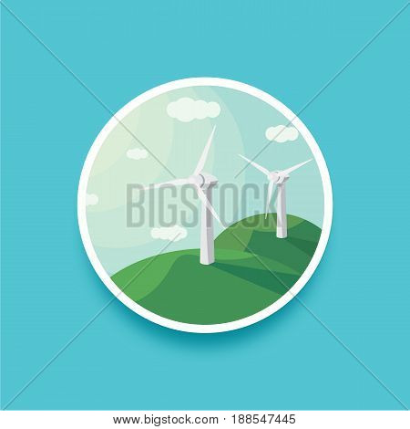 Landscape round vector illustration of wind generators. Landscape round wind power. Wind turbines and blue sky. Modern alternative energy generation. Eco technologies. Clean resources