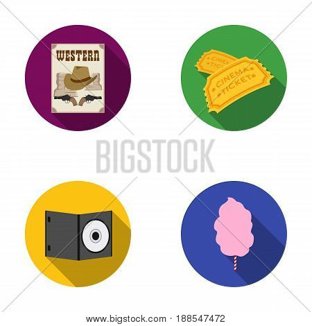 Western cinema, tickets, sweet cotton wool, film on DVD.Filmy and cinema set collection icons in flat style vector symbol stock illustration .
