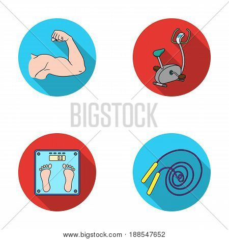 Biceps, exercise bike, scales for weighing, skalka. Fitnes set collection icons in flat style vector symbol stock illustration .
