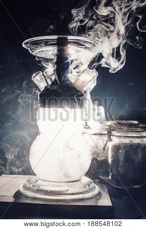 Glass Hookah With The Smoke