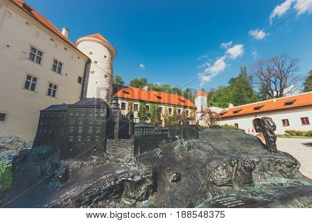 Model Of The Castle In Pieskowa Skala With Real Buildings In The Background, Braille System