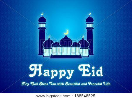 Eid Mubarak and Ramadan Greeting Card or Invitation Card, Beautiful festive background for Eid Mubarak, Creative Vector illustration for Muslim Community Festival Celebration.