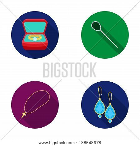 Ring in a case, hair clip, earrings with stones, a cross on a chain. Jewelery and accessories set collection icons in flat style vector symbol stock illustration .