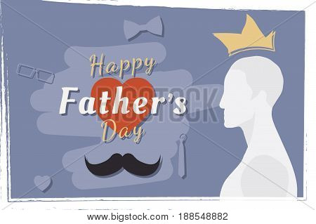 Happy Father's Day. Festive greeting banner. Silhouette of the father and a font combination with the heart. Flat vector illustration EPS10.