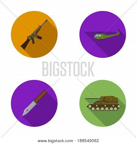 Assault rifle M16, helicopter, tank, combat knife. Military and army set collection icons in flat style vector symbol stock illustration .