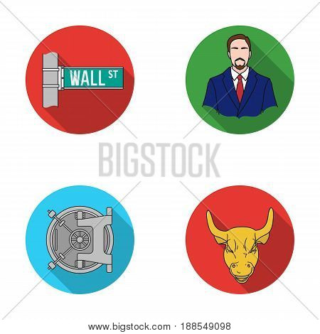 Wall Street, a businessman, a bank vault, a gold charging bull. Money and finance set collection icons in flat style vector symbol stock illustration .