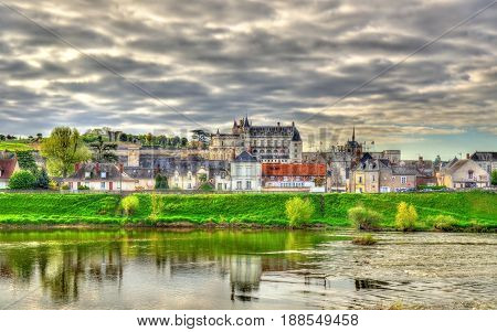 View of Amboise town with the castle and the Loire river - France