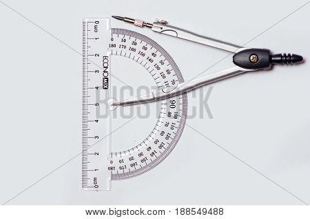 The office of the compass protractor on a white background isolation