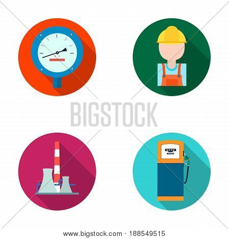 Manometer, worker oilman, fuel refueling, oil factory. Oil industry set collection icons in flat style vector symbol stock illustration .