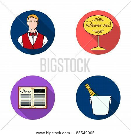Waiter, reserve sign, menu, champagne in an ice bucket.Restaurant set collection icons in flat style vector symbol stock illustration .