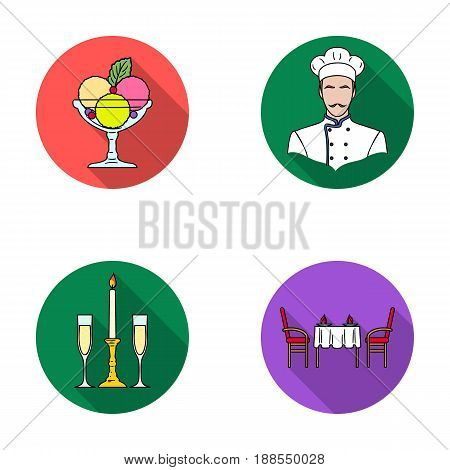 Ice cream with fruit, chef, candle and glasses, a covered table.Restaurant set collection icons in flat style vector symbol stock illustration .
