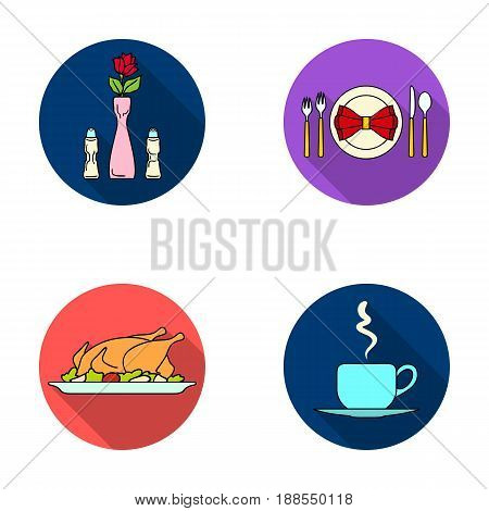 Vase with a flower, table setting, fried chicken with garnish, a cup of coffee.Restaurant set collection icons in flat style vector symbol stock illustration .