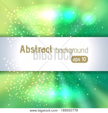 Background with green light rays. Abstract background. Vector illustration