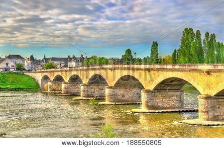 Marechal Leclerc Bridge across the Loire in Amboise - France