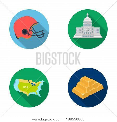 Football player s helmet, capitol, territory map, gold and foreign exchange. USA country set collection icons in flat style vector symbol stock illustration .