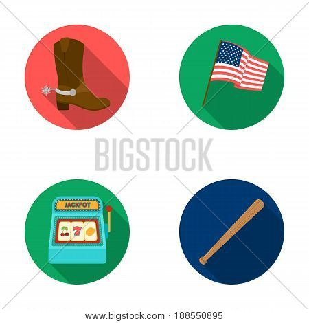 Cowboy boots, national flag, slot machine, baseball bat. USA country set collection icons in flat style vector symbol stock illustration .