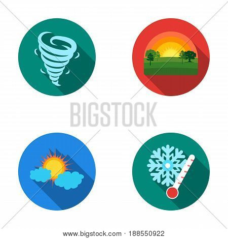 Tornado, sunrise, cloudiness, snow and frost. The weather set collection icons in flat style vector symbol stock illustration .