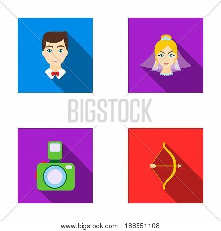 Groom, bride, photographing, arrow of the cupid. Wedding set collection icons in flat style vector symbol stock illustration .