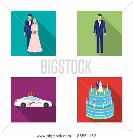 A bride and groom in a wedding dress with a bouquet of roses in their hands, a groom in a festive suit, a cadillant of newlyweds decorated with ribbons and hearts, a wedding cake with the bride and groom. Wedding set collection icons in flat style vector