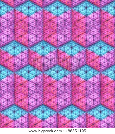 Vector seamless pattern. Isometric cubes and rectangular parallelepiped made of hexagon particles. Shades of blue, purple and pink colors.