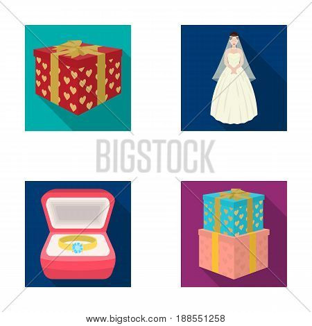 A box with a gift for a wedding, a bride in a veil and a dress, a ring in a diamond engagement ring with a diamond, boxes with gifts. Wedding set collection icons in flat style vector symbol stock illustration .