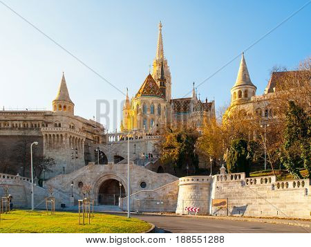 Front view of staircase of Fisherman Bastion on the Buda Castle Hill in Budapest, Hungary. Sunny autumn day shot.