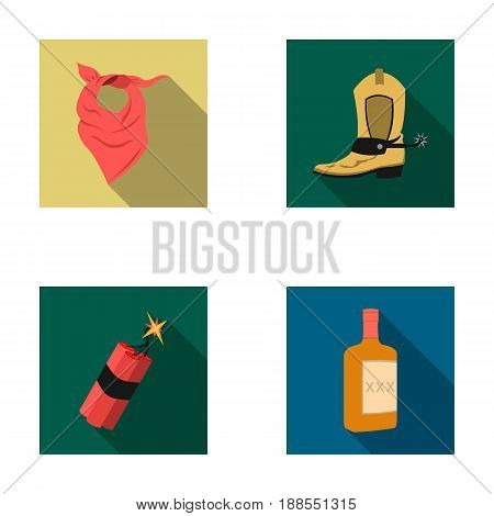 Bandage, boots, dynamite and a bottle of whiskey. Wild West set collection icons in flat style vector symbol stock illustration .