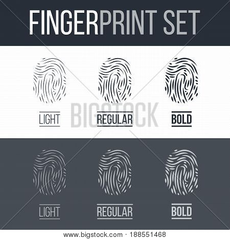 Abstract Biometric Fingerprints Set for Security ID on Dark and White Background
