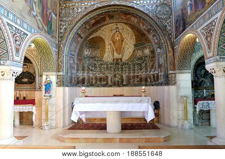BEIT JAMAL ISRAEL - FEBRUARY 17 2017: Interior of the church of St. Stephen the First Martyr in the monastery Beit Jamal