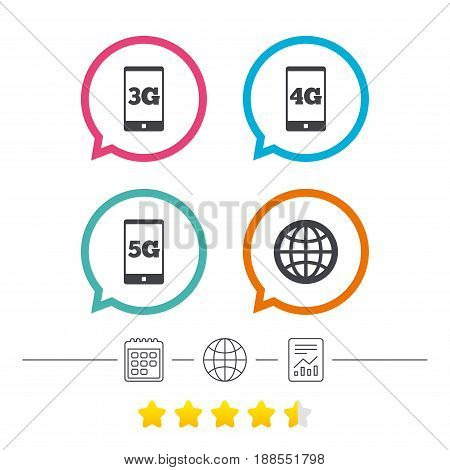 Mobile telecommunications icons. 3G, 4G and 5G technology symbols. World globe sign. Calendar, internet globe and report linear icons. Star vote ranking. Vector