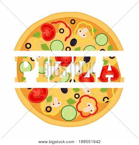 Vegetarian pizza, margherita with tomato, pepper, cucumber, mushroom, olive, basil. Made in cartoon flat style.
