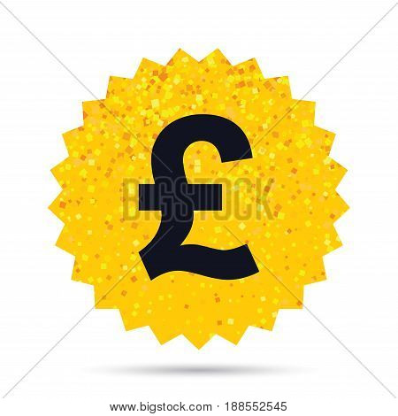 Gold glitter web button. Pound sign icon. GBP currency symbol. Money label. Rich glamour star design. Vector