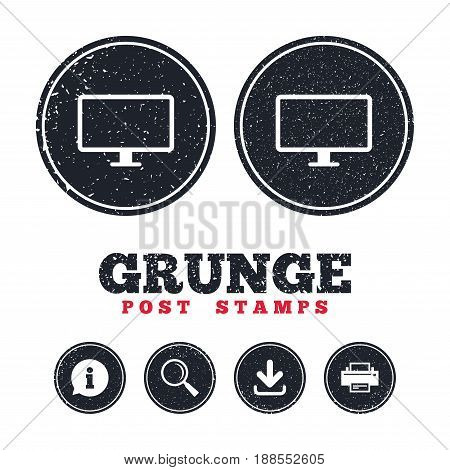 Grunge post stamps. Computer widescreen monitor sign icon. Information, download and printer signs. Aged texture web buttons. Vector