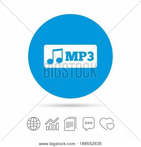 Mp3 music format sign icon. Musical symbol. Copy files, chat speech bubble and chart web icons. Vector