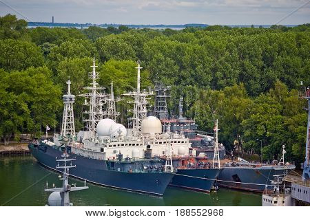 Baltiysk, Kaliningrad region, Russia - August 08, 2014: Aerial view to Russian military ships of Baltic fleet anchored in the bay