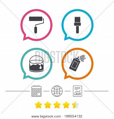 Painting roller, brush icons. Spray can and Bucket of paint signs. Wall repair tool and painting symbol. Calendar, internet globe and report linear icons. Star vote ranking. Vector