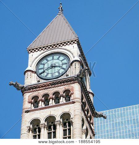 Clock Tower of Old City Hall in Toronto Canada April 14 2010