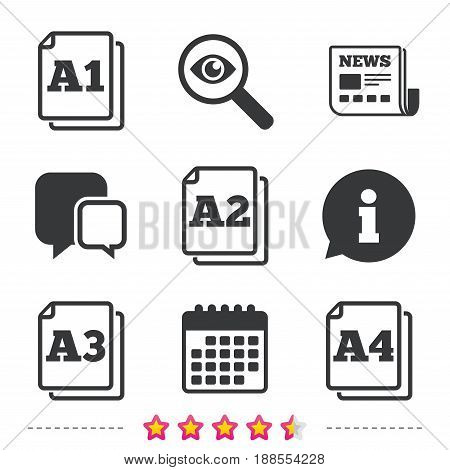 Paper size standard icons. Document symbols. A1, A2, A3 and A4 page signs. Newspaper, information and calendar icons. Investigate magnifier, chat symbol. Vector