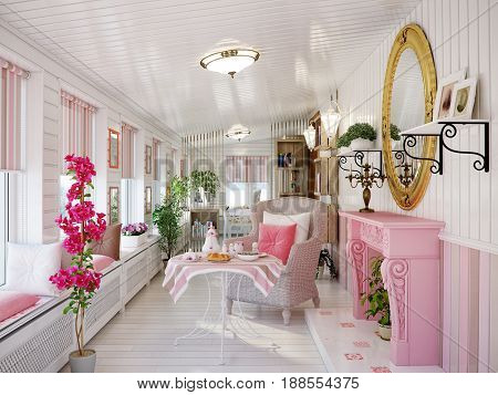 Classic Traditional Provence White and Pink Colors Veranda Rest Living Room Interior Design With Wicker Chairs and Fireplace Wooden Wall Panels . 3d rendering