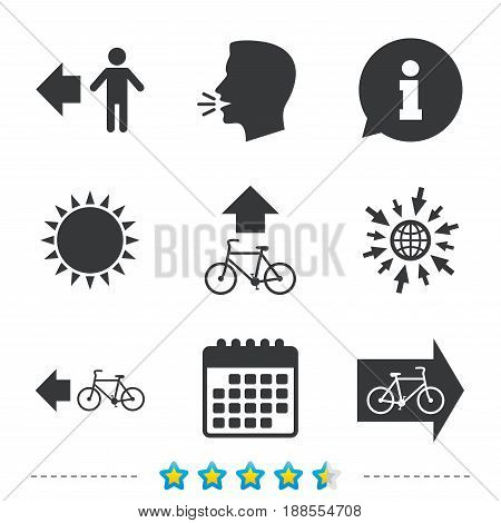 Pedestrian road icon. Bicycle path trail sign. Cycle path. Arrow symbol. Information, go to web and calendar icons. Sun and loud speak symbol. Vector