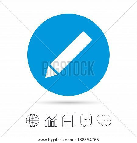 Pencil sign icon. Edit content button. Copy files, chat speech bubble and chart web icons. Vector