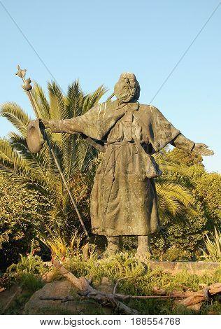 Statue of St. James as a pilgrim by an unknown author in Plaza da Paz Santiago de Compostela Galicia Spain