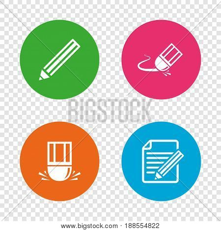 Pencil icon. Edit document file. Eraser sign. Correct drawing symbol. Round buttons on transparent background. Vector
